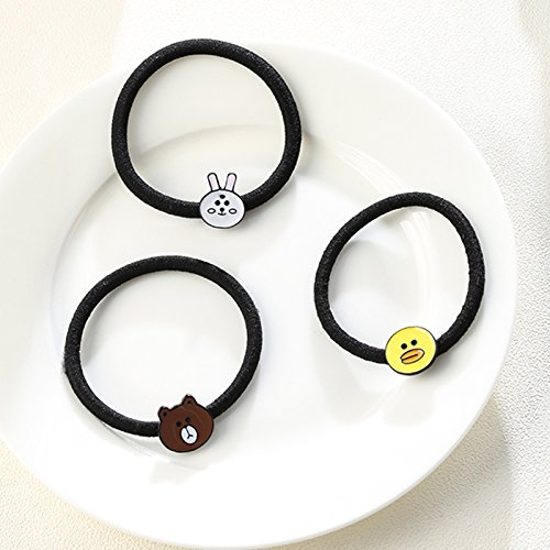 Generic 3 sets of ultra-cute cartoon animals circle germination Winnie the rabbit hair rope rope girls hair jewelry suit by Generic