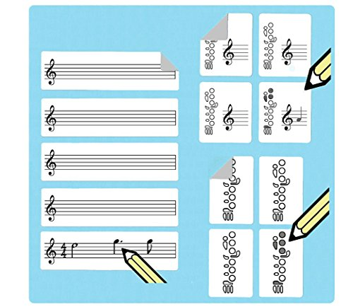 Flute Fingering Stickers Multipack (420 handy stickers) Great for beginners and teachers! by WhirlWindPress.ca