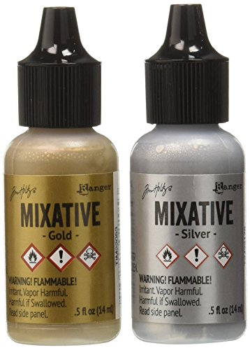 Ranger TIM21247 Adirondack Alcohol Ink Metallic Mixatives 1/2-Ounce 2/Pkg, Gold and Silver