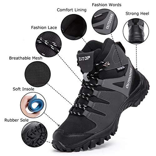 ziitop Chaussures de Randonnée Homme Bottes Tactiques pour Hommes Chaussures de randonnée et de Trekking à Taille Haute… 2