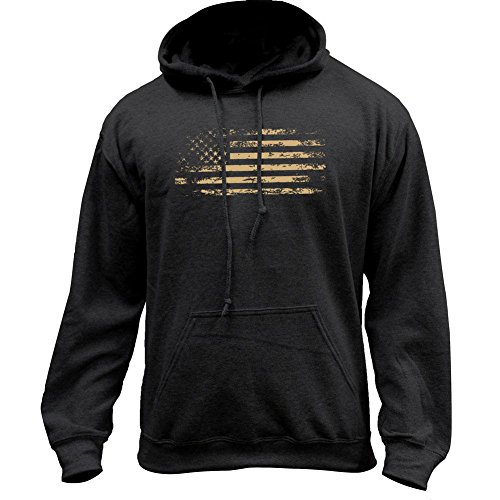USAMM Distressed American Flag Pullover Hoodie (Small, Black)