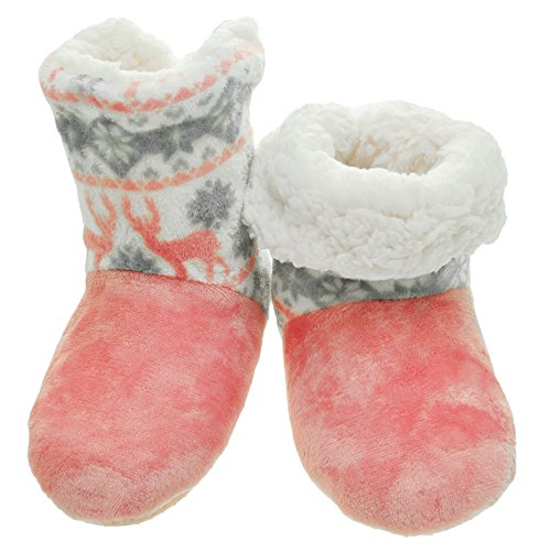 Angelina Winter-Weight Sherpa-Lined Indoor Boots with Non-Slip Bottom, #1190_PNK_1_SM by Angelina