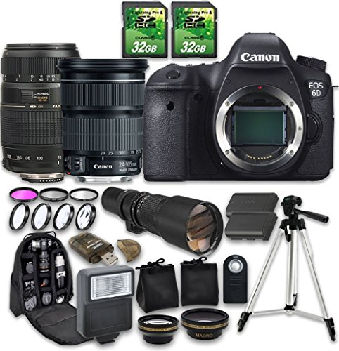 Canon EOS 6D Camera Bundle with Canon EF 24-105mm f/3.5-5.6 IS STM Lens + Tamron AF 70-300mm f/4-5.6 Macro Autofocus Lens + 500mm f/8 Telephoto Lens (Canon 5d Mark Iii Flash Bracket)