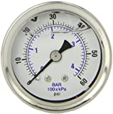 PIC Gauge 202L-158D 1.5'' Dial, 0/60 psi Range, 1/8'' Male NPT Connection Size, Center Back Mount Glycerine Filled Pressure Gauge with a Stainless Steel Case, Brass Internals, Stainless Steel Bezel, and Polycarbonate Lens