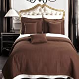 Luxury Checkered Quilted Wrinkle Free Coverlets Bedspread 100% Microfiber Set Chocolate/Twin-TwinXL(2PC)