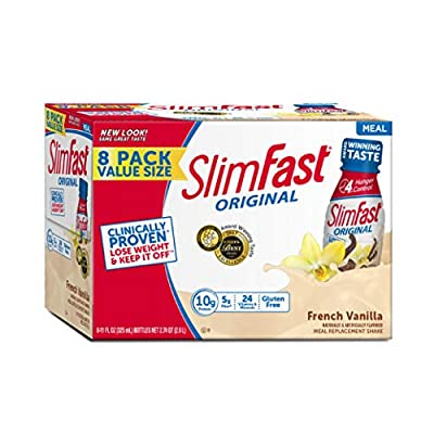 Slim Fast Original weight loss Meal Replacement RTD shakes with 10g of protein and 5g of fiber plus 24 Vitamins and Minerals per serving, French Vanilla, 8 Count