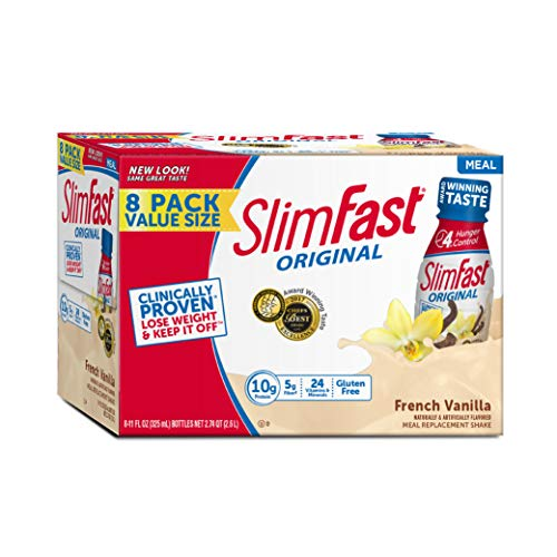 (SlimFast Original French Vanilla Shake - Ready to Drink Weight Loss Meal Replacement - 10 of protein -  11 fl. oz. Bottle - Pack of 8)