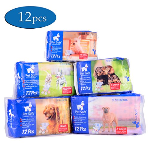 Pet Soft Pet Disposable Female Puppy Dog Diaper,12Pcs,XS