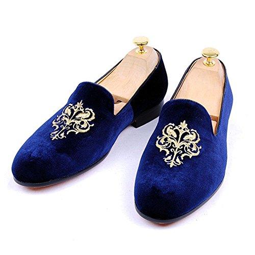 Fulinken Mens Moda Velluto Slip-on Scarpe Pantofole Punta Rotonda Mens Casual Mocassini Ricamati Nero / Blu / Rosso Blu Corona