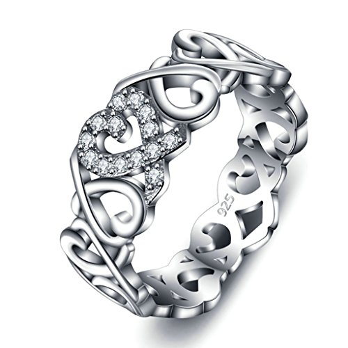 925 Sterling Silver Ring, Women's Wedding Bands Hollow Out Knot Heart Engagement Band and Size 8 - Outlet Stores Tampa