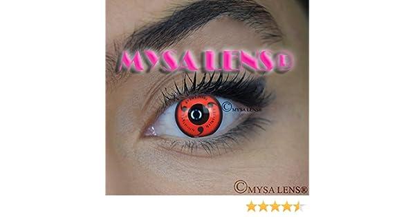 Mysa Lens - Lentes de contacto de color, de fantasía, para disfrazarse de Naruto Sharingan Itachi (incluye solución para lentes de 10 ml y funda), 12 ...