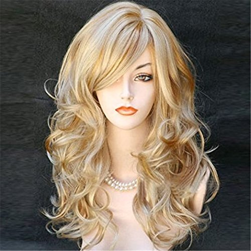 Kalyss Women's Long Curly Body Wavy Heat Resistant Blonde with Highlights Wig Synthetic Full Hair Wig for Women (Blonde with -