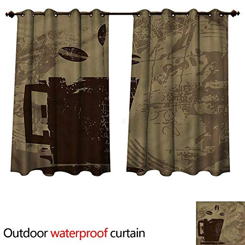 cobeDecor Coffee 0utdoor Curtains for Patio Waterproof Grunge Java Breakfast W72 x L63(183cm x 160cm) ()