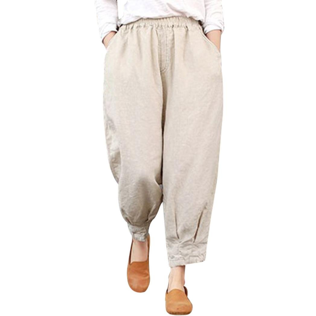 Spbamboo Women Ankle-Length Harem Trousers Capris Loose Elastic High Waist Pants by Spbamboo