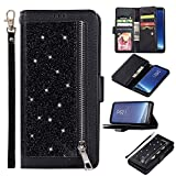 Shinyzone Glitter PU Case for Samsung Galaxy S8,Wallet Leather Flip Case with Zipper Pocket,Bling Cover with 9 Card Holder and Wrist Strap Magnetic Stand Function,Black