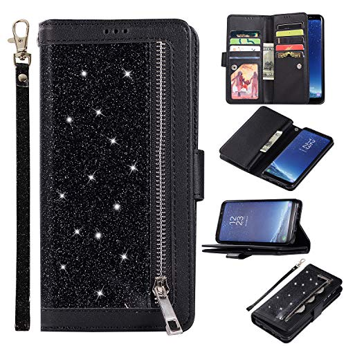Shinyzone Glitter PU Case for Samsung Galaxy S8,Wallet Leather Flip Case with Zipper Pocket,Bling Cover with 9 Card Holder and Wrist Strap Magnetic Stand Function,Black by Shinyzone (Image #7)