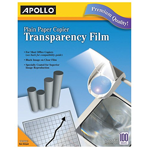 - Apollo Transparency Film for Plain Paper Copier, Black on Clear Sheet, with Stripe, 100 Sheets/Pack (VPP201CE)
