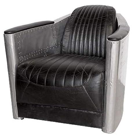Casa-Padrino Art Deco Sillón Aluminio Cuero Real Negro/Plata ...