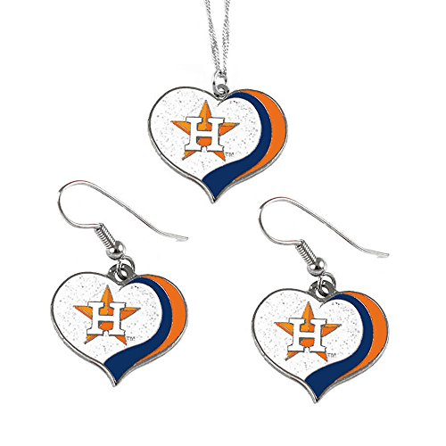 aminco Houston Astros MLB Sports Team Logo Charm Gift Glitter Heart Necklace and Earring Set by aminco