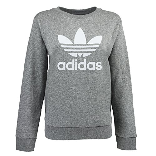 Adidas Classic Crew Sweatshirt (adidas Women's Trefoil Crew Sweatshirt, Medium Grey Heather, XL)