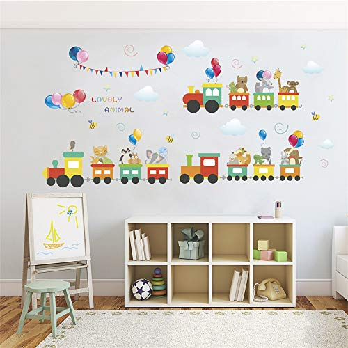 ufengke Animal Train Wall Stickers Balloons Wall Decals Art Decor for Kids Bedroom Nursery (For Furniture Stickers Kids)