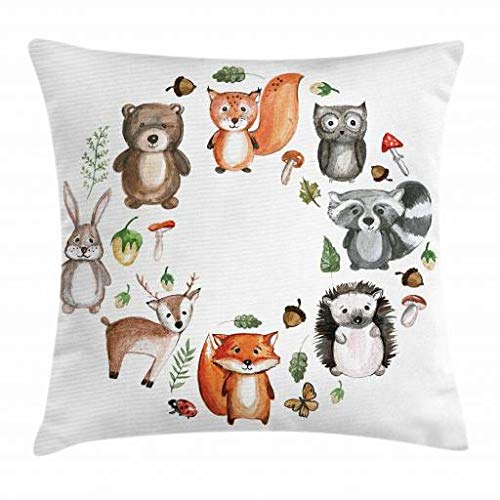 Lunarable Woodland Throw Pillow Cushion Cover, Animals of the Forest with Mushrooms Acorns Circular Frame Cartoon Pastel Colors, Decorative Square Accent Pillow Case, 18 X 18 Inches, Multicolor by Lunarable (Image #1)