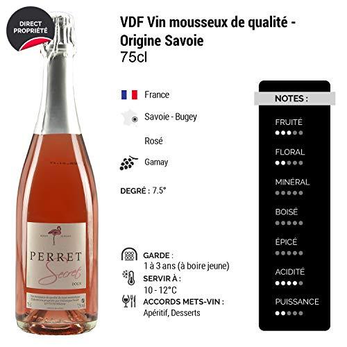 SecretVronique-Perret-Ros-Maison-Perret-Appellation-VDF-Vin-mousseux-de-qualit-Origine-Savoie-Vin-effervescent-Doux-Ros-de-Savoie-Bugey-Cpage-Gamay-Lot-de-3x75cl