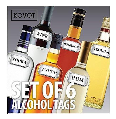 KOVOT Liquor and Alcohol Label Tags, Set of 6, Silver