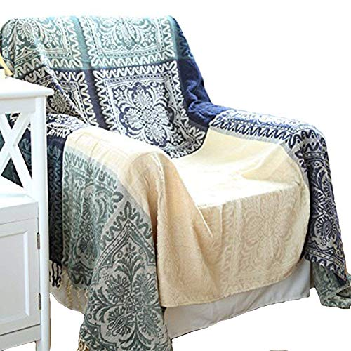 UNIGARDEN Chenille Jacquard Tassels Throw Blankets for Bed Couch Decorative Soft Chair Cover (Tribal Pattern, Large)