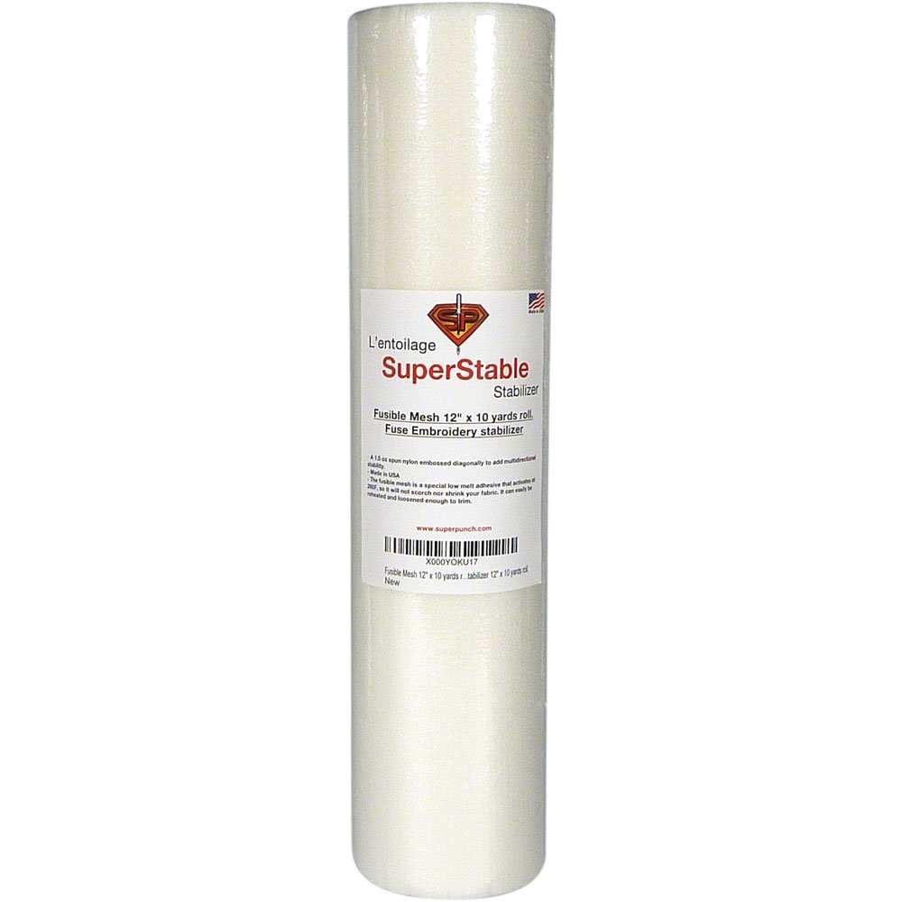 Fusible Mesh Stabilizer 1.5 oz 12 inch x 10 Yard Roll. SuperStable Fuse Embroidery Stabilizer Backing by Superpunch