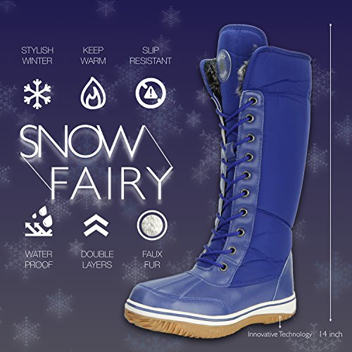 Women's D'Cor Knee Royal Blue Fur Snow Zipper Eskimo up DailyShoes Warm 2 Water Resistant Boots Cowboy High Tone Y5dxqYFwH