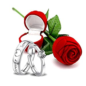 Peora Valentine's Day Gift Hamper of Couple Ring with Red Rose Gift Box for Boyfriend/Girlfriend/Gift for Valentine/Gift…