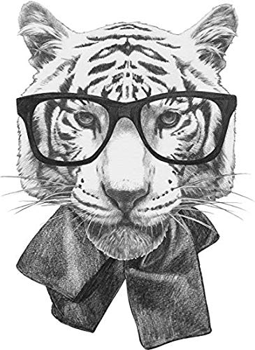 Morgan Graphics Cool Majestic Realistic White Bengal Tiger Icon #3 - Hipster Glasses and Scarf (4