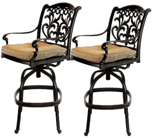 Patio Bar Stools Set of 2 Swivel Flamingo Outdoor Cast Aluminum Furniture Desert Bronze