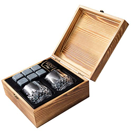 Whiskey Stones Gift Set - Cold Stones For Drinks - 6 Natural Granite Whisky Rocks To Chill Your Beverages + 2 Crystal Whiskey Shot Glasses in Wooden Box - Best Bar Accessories By Lord's Rocks