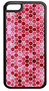 LINMM58281Red Honeycomb Pattern- Case for the APPLE iphone 5/5s ONLY-Hard Black Plastic Outer CaseMEIMEI