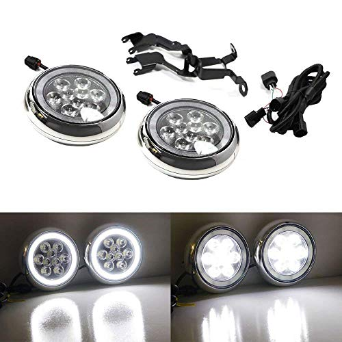 iJDMTOY Chrome Finish LED Rally Driving Lights For MINI Cooper w/Halo Ring LED Daytime Running Lights, Powered by (9) 3W Osram LED Lights for Driving Lamps & (30) SAMSUNG LED Lights as DRL