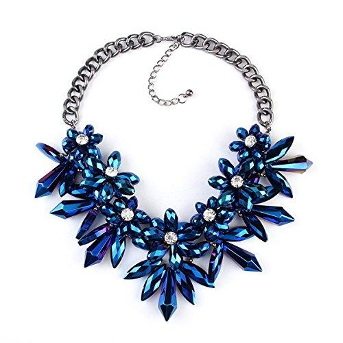 PSNECK ue Flower Crystal Big Valentine Day Gem Necklaces pendants Maxi Statement Jewelry