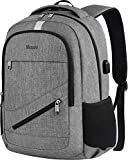 Business Travel Backpack,Mancro Laptop Backpack with USB Charging Port for Men, RFID Anti-Theft Business Water Resistant College School Bookbag Lightweight Computer Backpack Fits 15.6 Inch Laptop-Grey