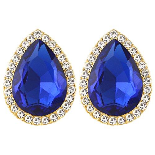 EVER FAITH Women's Austrian Crystal Wedding Teardrop Stud Earrings Royal Blue Gold-Tone