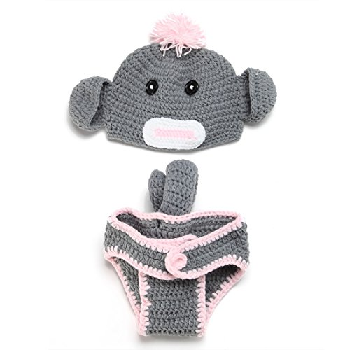 Dealzip Inc Fashion Unisex Newborn Boys Girl Crochet Knitted Baby Outfits Costume Set Photography Photo Pros - Grey (Baby Girl Monkey Costume)