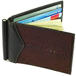 Money Clip Wallet, Stingray Leather, ID Holder, 3 CC Slots, Brown