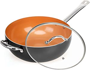 SHINEURI Copper 12 Inch Frying Pan, Wok and Stir Fry Pans with Lid, Nonstick Ceramic Copper Skillet with Stainless Steel Handle, Saute Pan for Cooking Saute Vegetables, Steaks, Induction Compatible