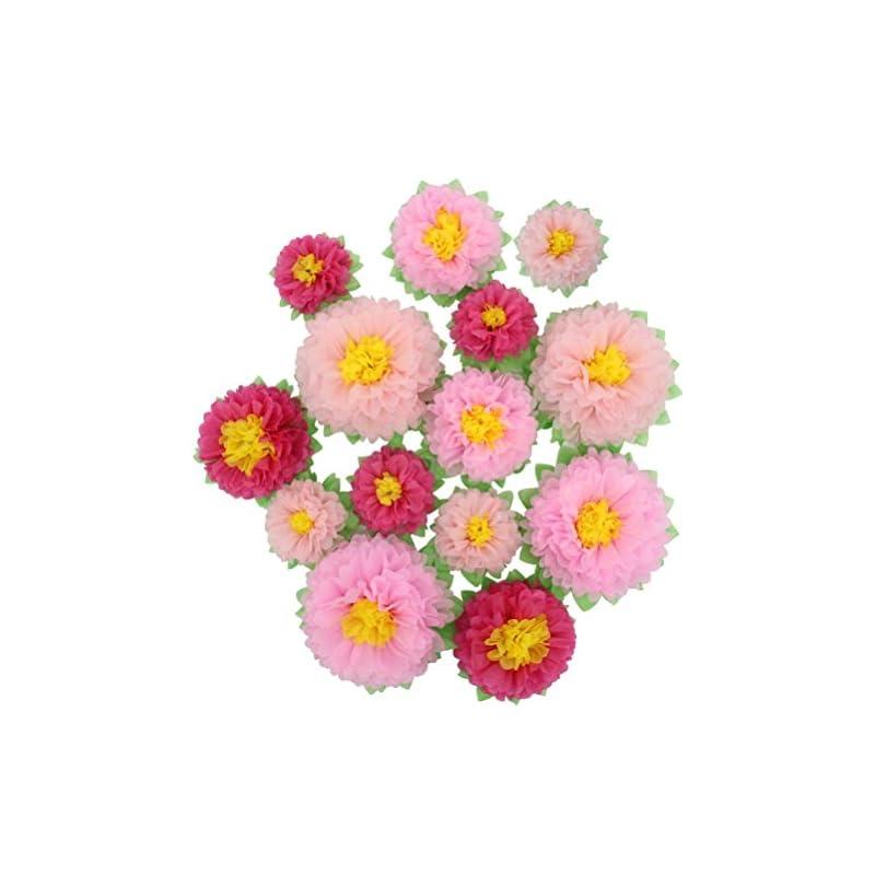 silk flower arrangements mybbshower pink paper artificial flowers (11''-7'' assorted) 14 pcs diy handcrafted nursery wall home decoration party backdrop bridal baby shower centerpiece