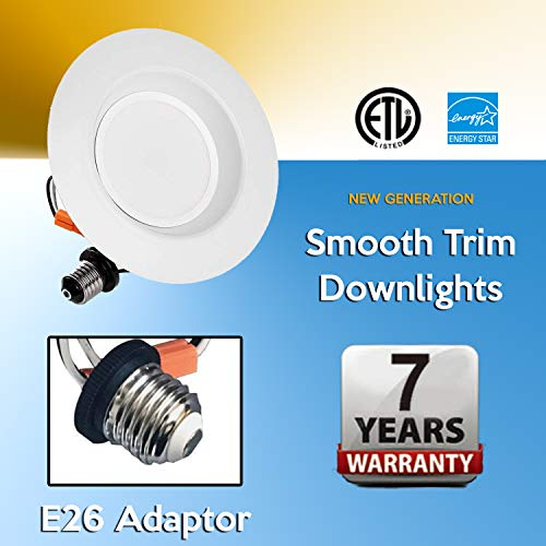 4'' NG LED Smooth Trim Downlight,650 Lumens, 3000K 10W, Recessed Retrofit, ETL Listed, Energy Star (6 Pack) by EZ In Touch With Tomorrow (Image #8)
