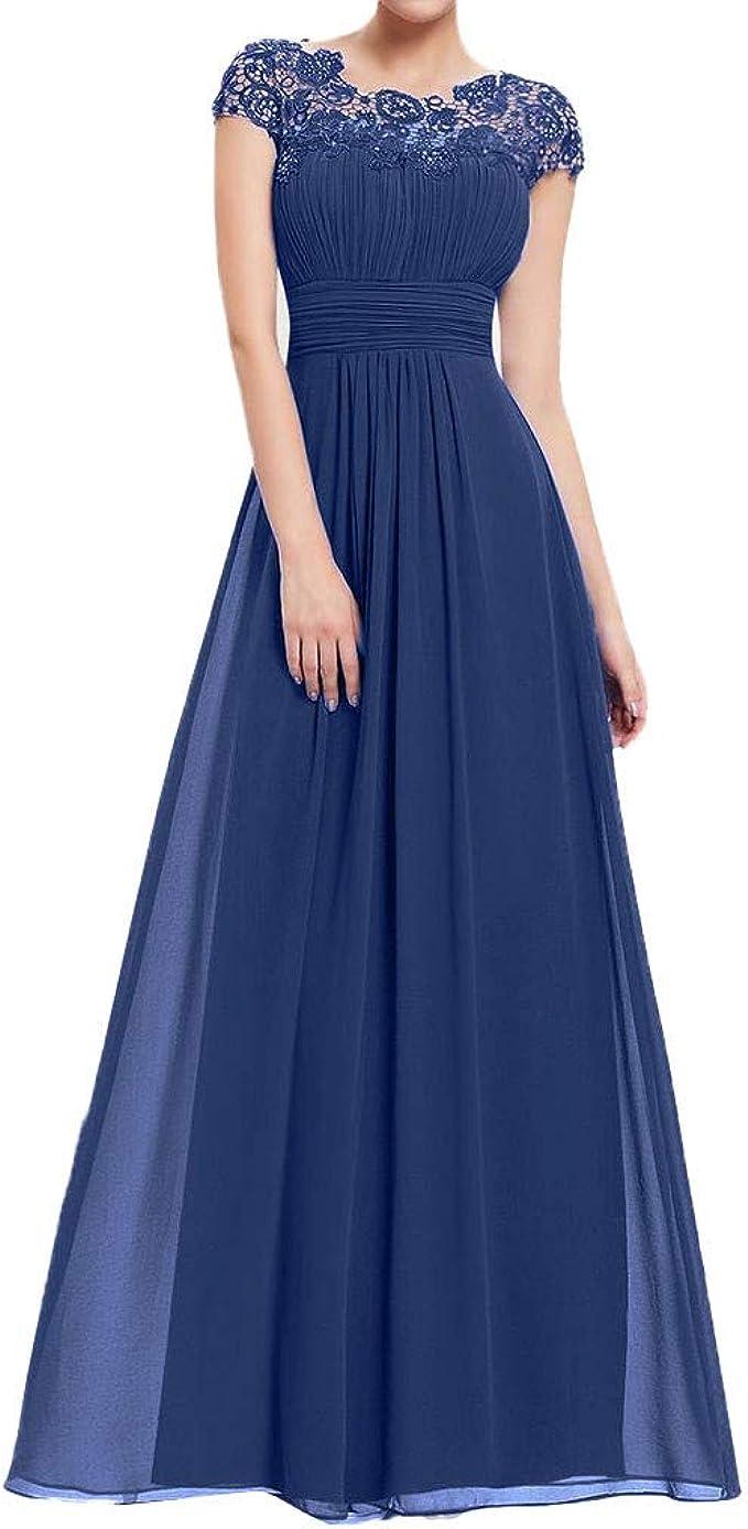 MAYOGO Damen Kleider Elegant Festlich Hochzeit Lang Kleid,Kurzarm Spitze  Kleid zur Hochzeit Gast,Bodenlang Maxi Kleid Abendkleider Party  Abschlussball
