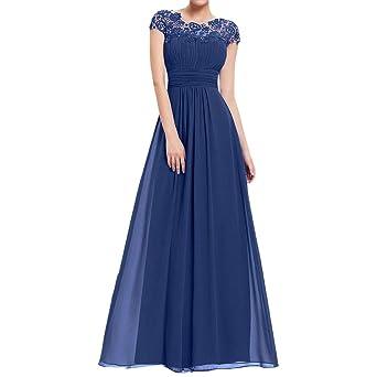 8e24d9eaa Modaworld Vestidos Largos Mujer Elegantes Vestido de Fiesta Formal Floral  de Mujeres Vestido Maxi de Boda de Manga Corta de Encaje Delgado Vestidos  para ...