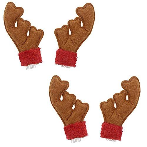 (Festive Holiday Reindeer Antler Hair Clips - 2 Pack )