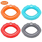 MoKo Hand Strengthener Grip Rings, 4 Pack (50-60-70-80 LB) Oval Ergonomic Soft Silicone Forearm Grip Exerciser Strengthen for Stress Relief, Stay focused, Hand Strength, Finger Exerciser - Colorful