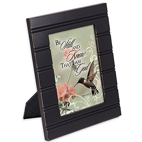 Cottage Garden Be Still and Know I am God Hummingbird 8 x 10 Distressed Black Accent Picture Frame Plaque